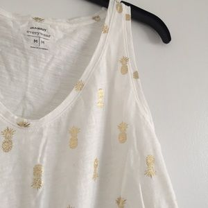 Old Navy Tops - Old Navy Gold Foil Pineapple Tank NEW!
